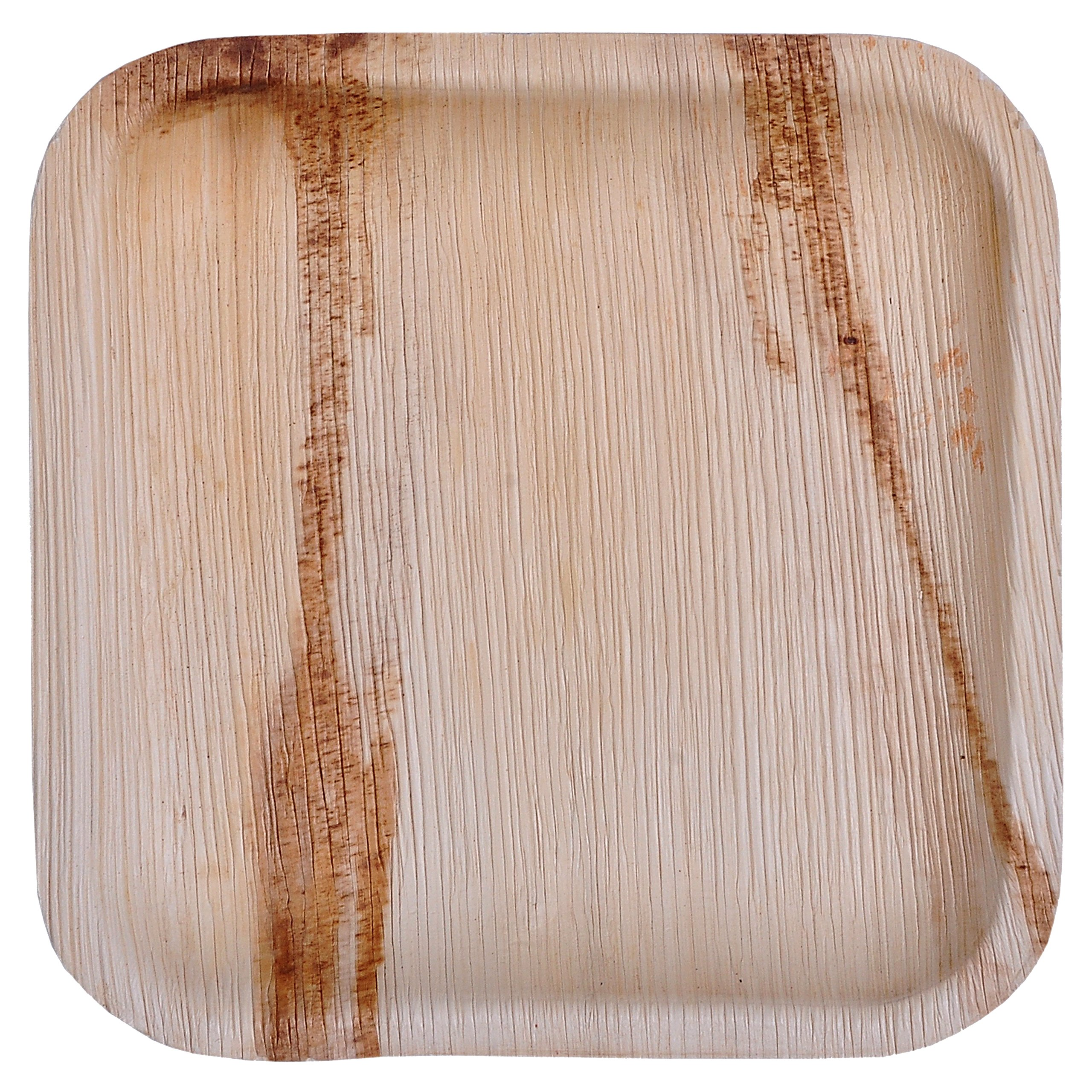 GREEN ATMOS 100 PACK - 8'' SQUARE SALAD / DESSERT / SIDE PLATE BIODEGRADABLE, COMPOSTABLE AND ECO-FRIENDLY DISPOSABLE ARECA PALM LEAF PLATES