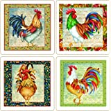 CoasterStone AS2110 Absorbent Coasters, 4-1/4-Inch, Pretty Roosters, Set of 4