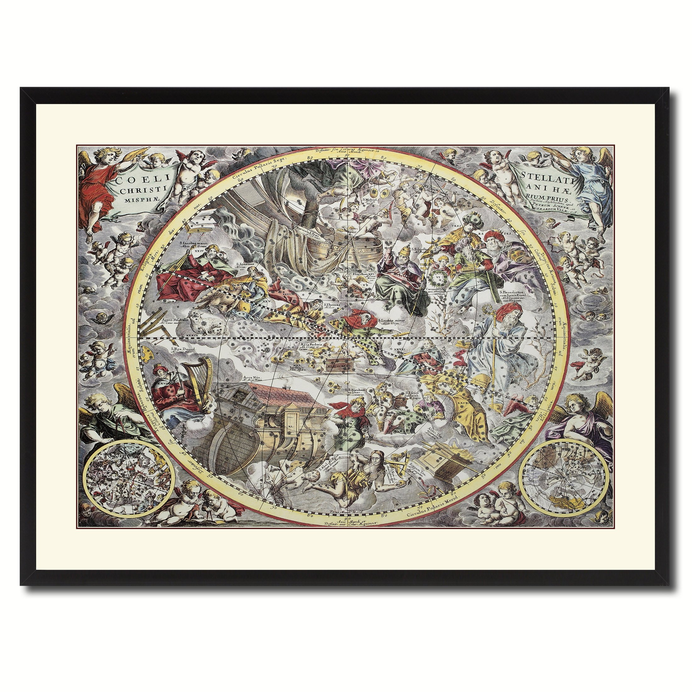 Christian Celestial Hemisphere Vintage Antique Map 36097 Print on Canvas with Picture Frame Gift Ideas Office Décor Livingroom Housewarming Birthday Black 28'' x 37'' by AllChalkboard
