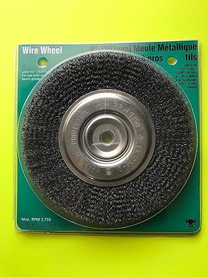 Wolfcraft 8 Medium Crimped Wire Wheele Brush Bench Grinder 1 2 Or 5 8 Arbor Amazon Com