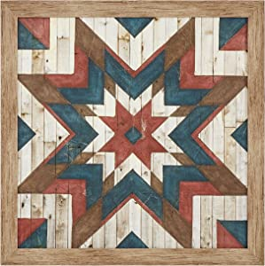 "Amazon Brand – Rivet Modern Farmhouse American Quilt Print Wall Art Decor - 27"" x 27"" Frame, Warm Grey Barnwood"
