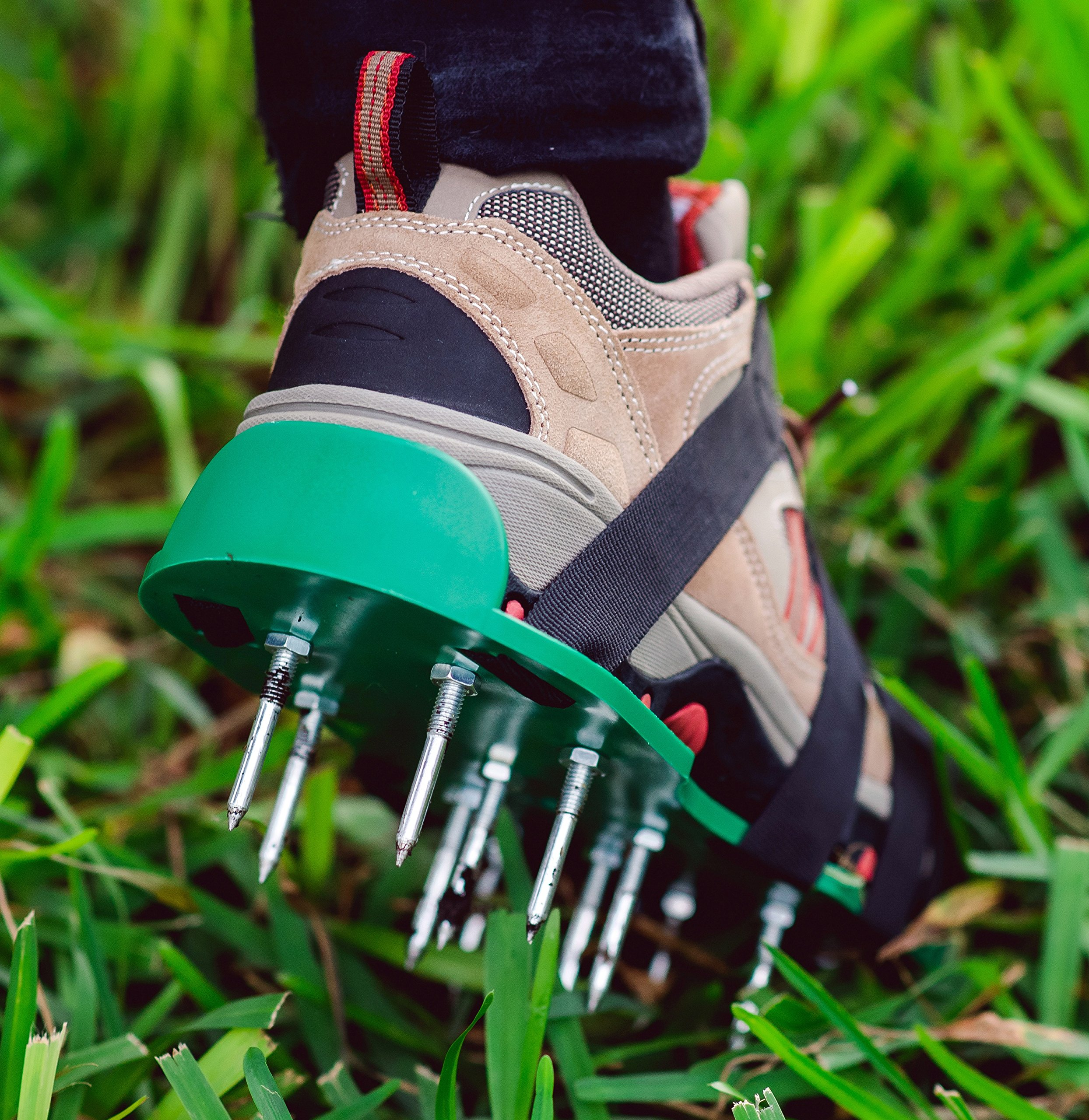 Lawn Aerator Spiked Shoes-Heavy Duty Metal Buckles, 4 Adjustable Straps and Sharper Spikes for Effective Soil Aeration and Greener Yard-One Size Fits All-Includes Storage Bag and Garden Gloves by Andes Broos
