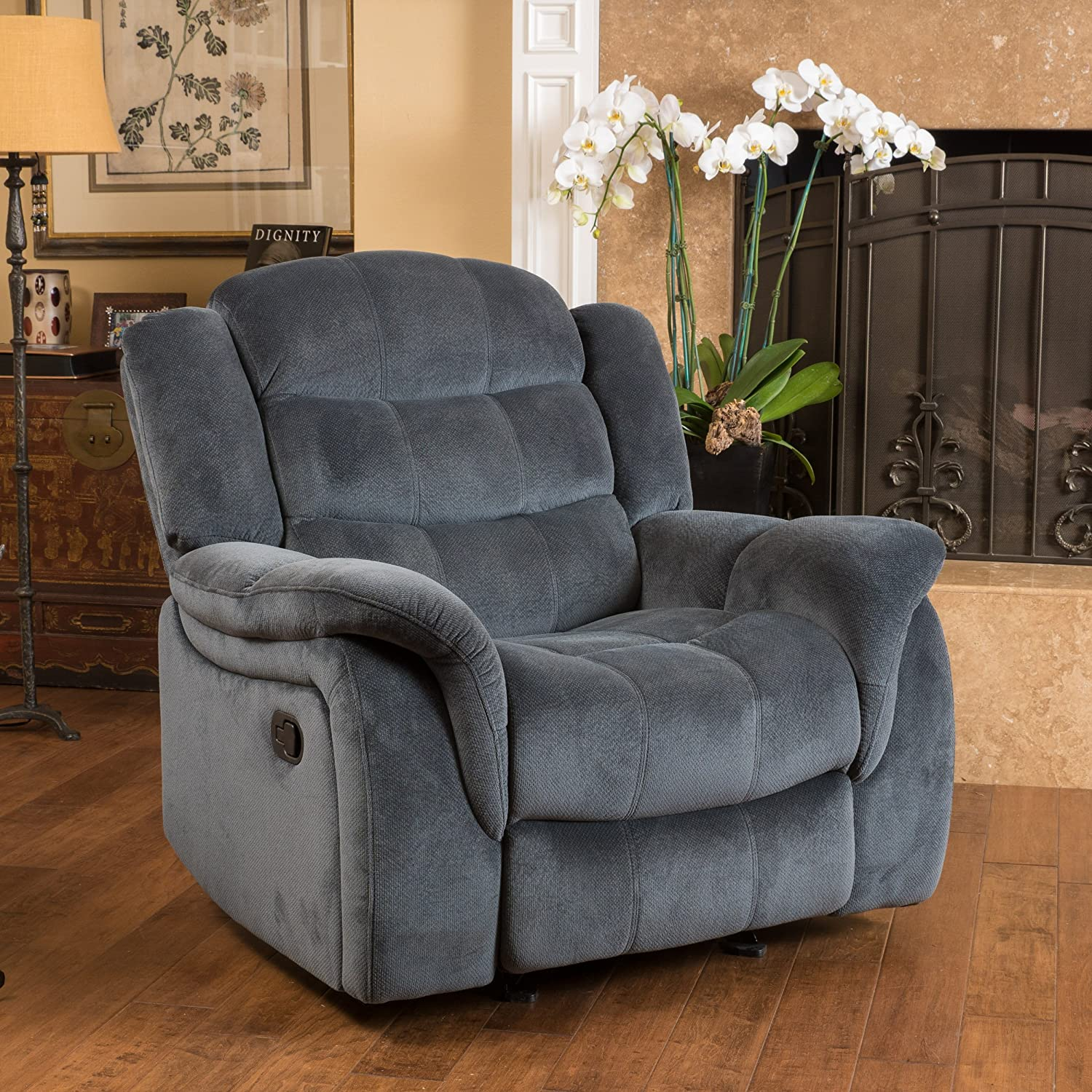 Amazon Merit Contemporary Grey Fabric Glider Recliner