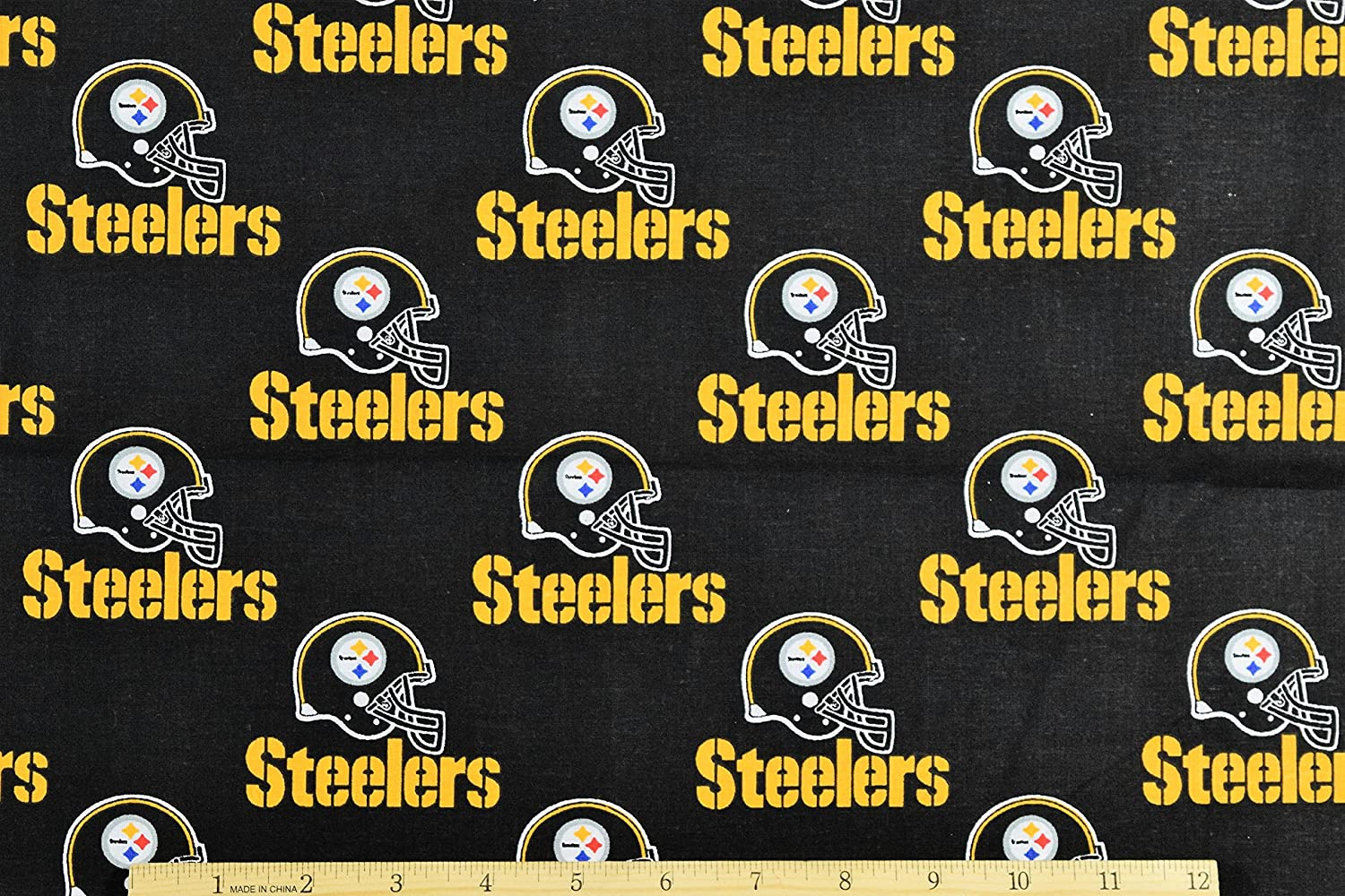 Pittsburgh Steelers Football Black Sheeting Fabric Cotton 5 Oz 58-60