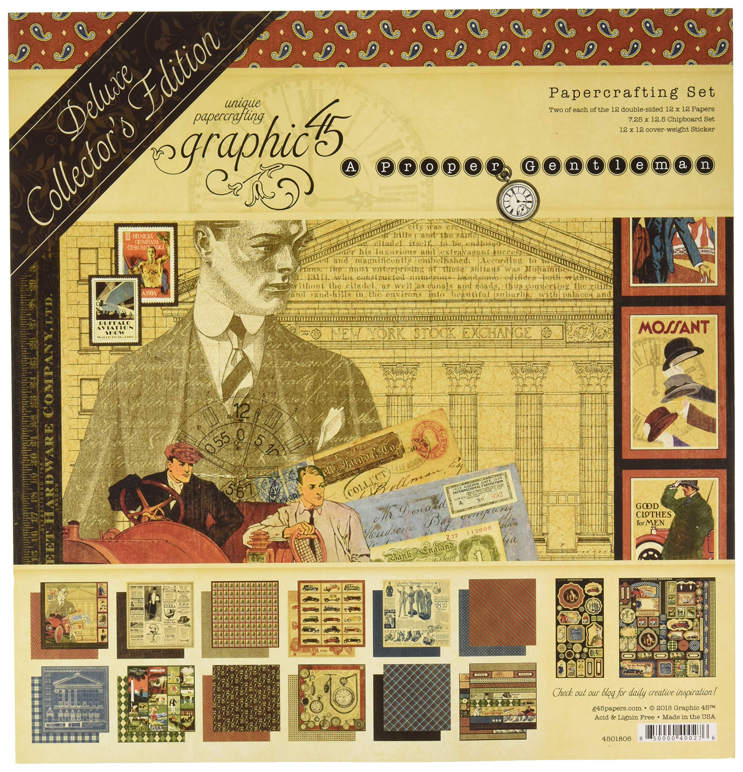 Graphic 45 4501806 A A Proper Gentleman Deluxe Collector's Edition Paper Pack, Multi