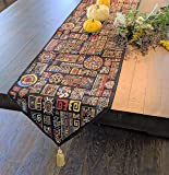 DaDa Bedding Tapestry Table Runner - Ethnic Ornament Geometric Black - Multi-Colorful Cotton Linen Woven Dining Mats…