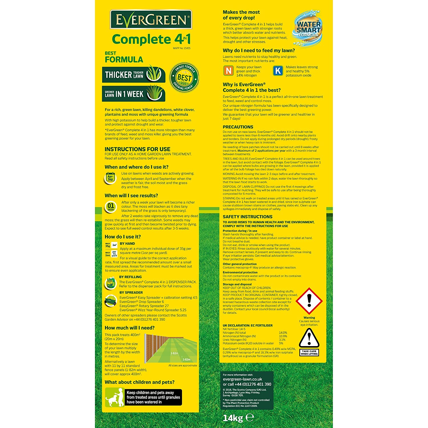 Evergreen 360sqm Complete 4 In 1 Lawn Care Lawn Food Weed And Moss