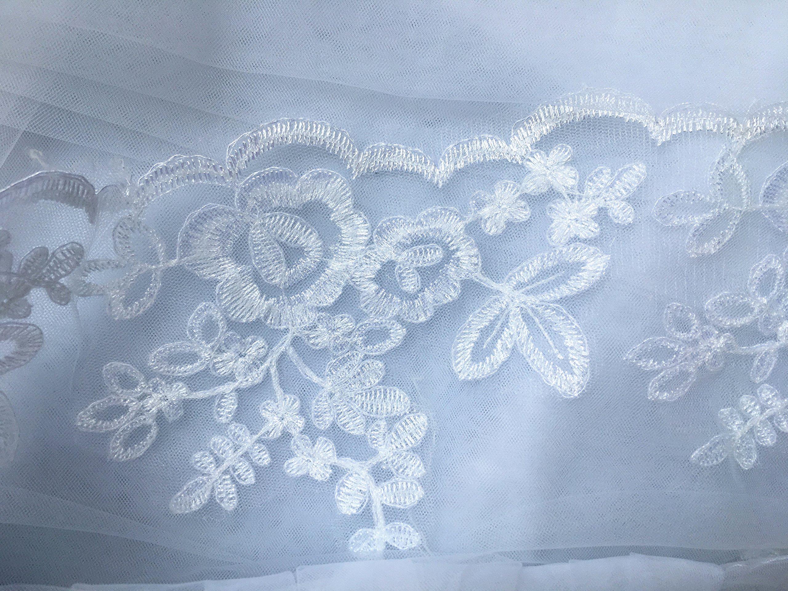 Single Layer Wedding Veil Lianshi Bridal Veil Lace Embroidery Bride Supplies 3m (Off White) by Lianshi