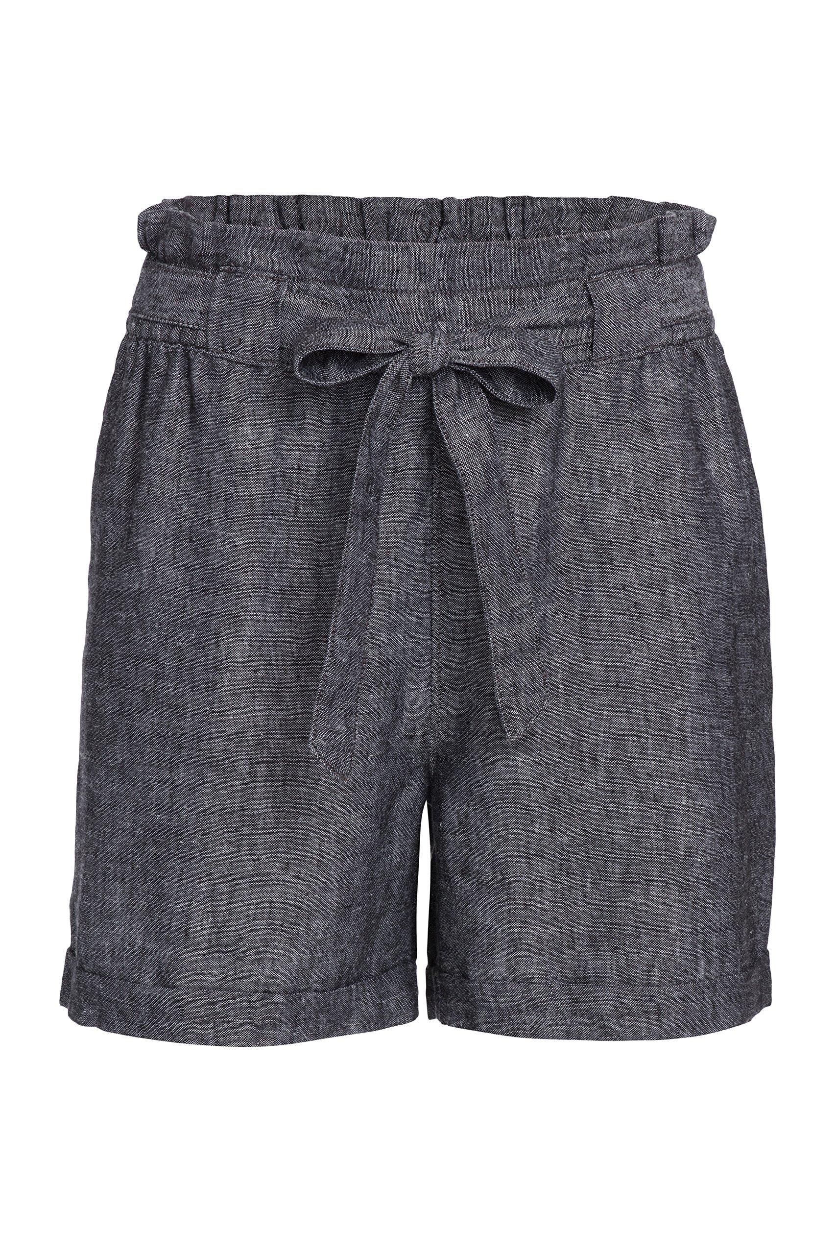 Alki'i Women's Casual Linen Paper Bag Shorts 1194 Black Chambray L