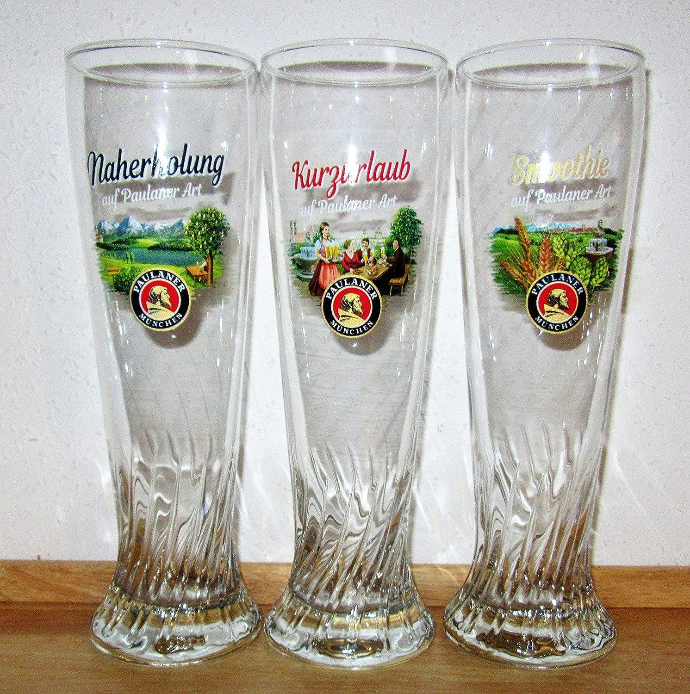 Paulaner - Vasos de Cerveza Blanca, edición de Vacaciones, Descanso de cercanías y moothie