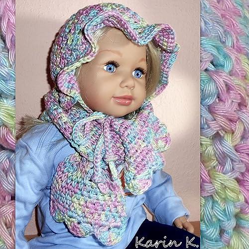 Baby Set Bestehend Aus Hütchen Und Schal In Zarten Pastellfarben