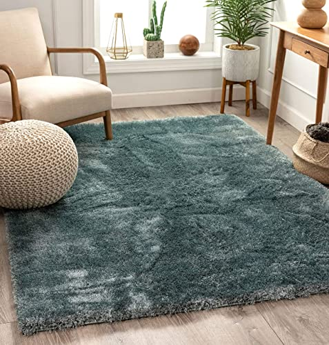 Shimmer Shag Ocean Blue Solid Plain Modern Luster Ultra Thick Soft Plush Area Rug 8 x 10 7 10 x 9 10 Contemporary Retro Polyester Textured Two Length 2 Pile Yarn Easy Clean Stain Fade Resistant