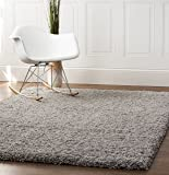 Gray Shag Rug, 5-Feet by 8-Feet, 5x8 Solid & Thick Stain-Resistant Non-Shed Living Room Carpet