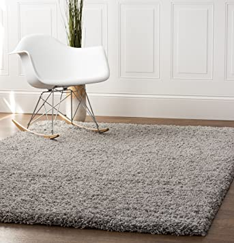 Gray Shag Rug 5 Feet By 8 5x8 Solid Thick