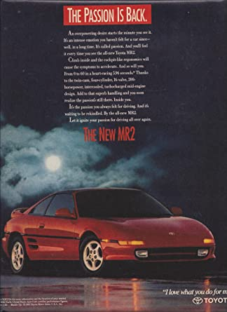 PRINT AD For 1990 Red Toyota MR2 Car: The Passion Is Back