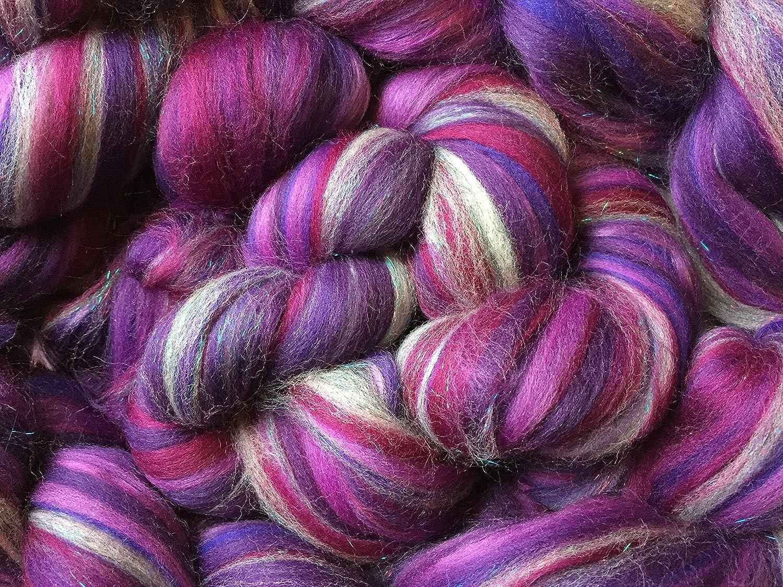 Shimmer BlackBerry - Merino Wool/Silk/Trilobal Mix for Needle Felting, Wet Felting & Spinning