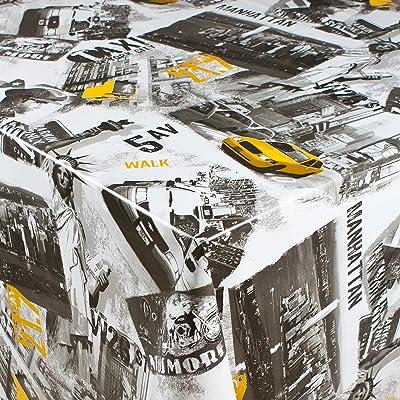 1buy3 toile cirée | DIVERS COLORIS, MOTIFS ET LONGUEURS | nappe de table avec dos en molleton (rues de New York, 200cm x 140 cm)