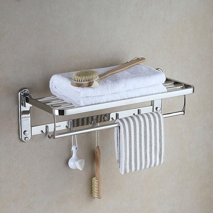 toallero Tubular estantes de Pared Rack con 3 toalleros y Estante de Madera para Dormitorio Sala de Estar lavadero Oficina Cocina 61 x 25 x 56 cm Ejoyous Toallero Industrial
