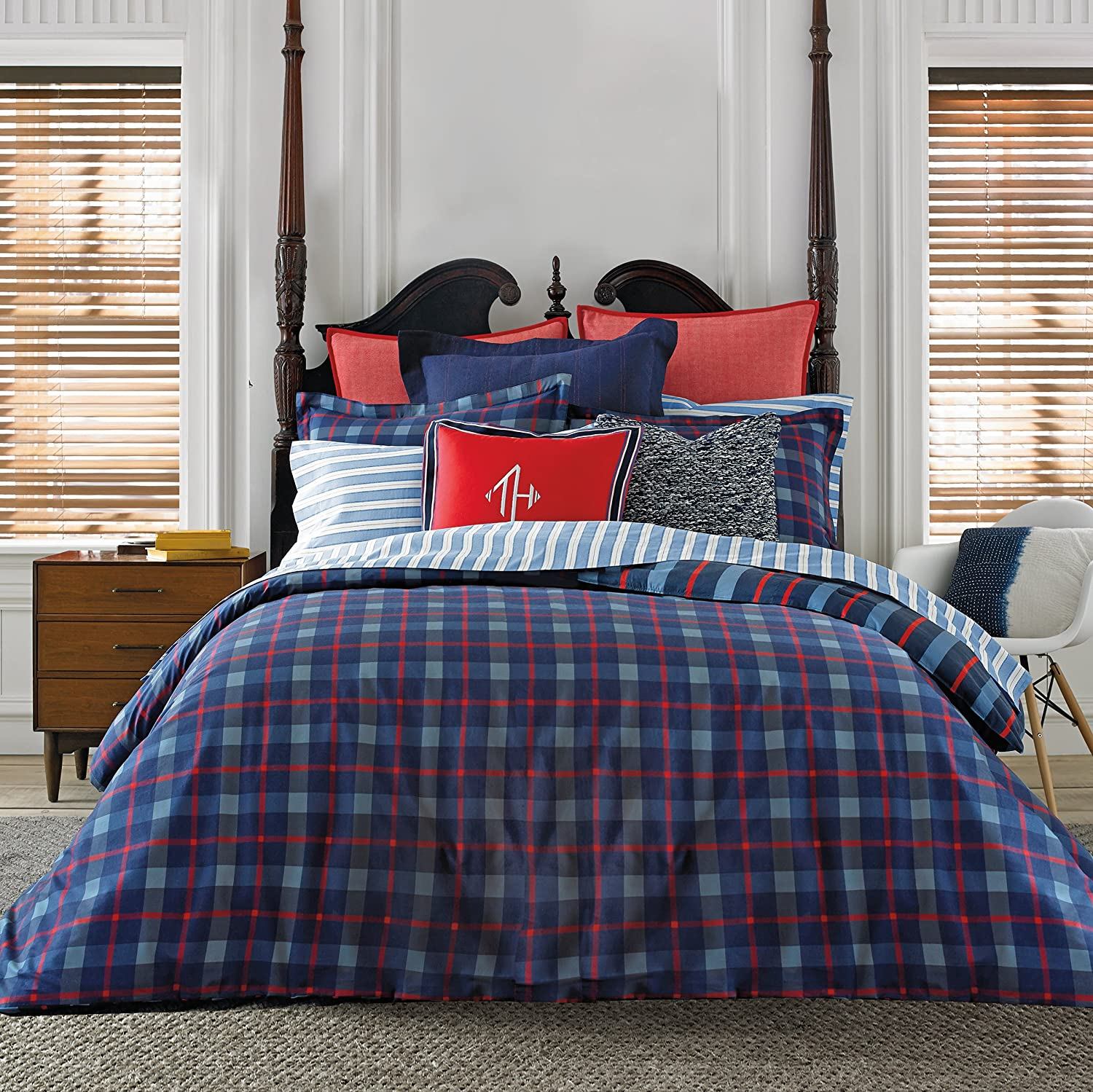 Amazon.com: Tommy Hilfiger Boston Plaid Comforter Set, Full/Queen: Home U0026  Kitchen