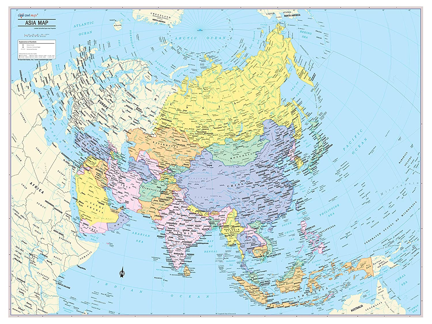 Detailed Map Of Asia.Amazon Com Cool Owl Maps Asia Continent Wall Map Poster Paper 32