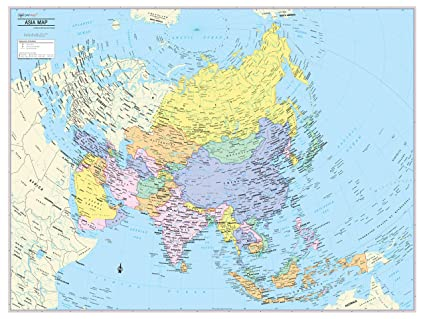 Political Map Of Asia Continent.Amazon Com Cool Owl Maps Asia Continent Wall Map Poster Paper 32
