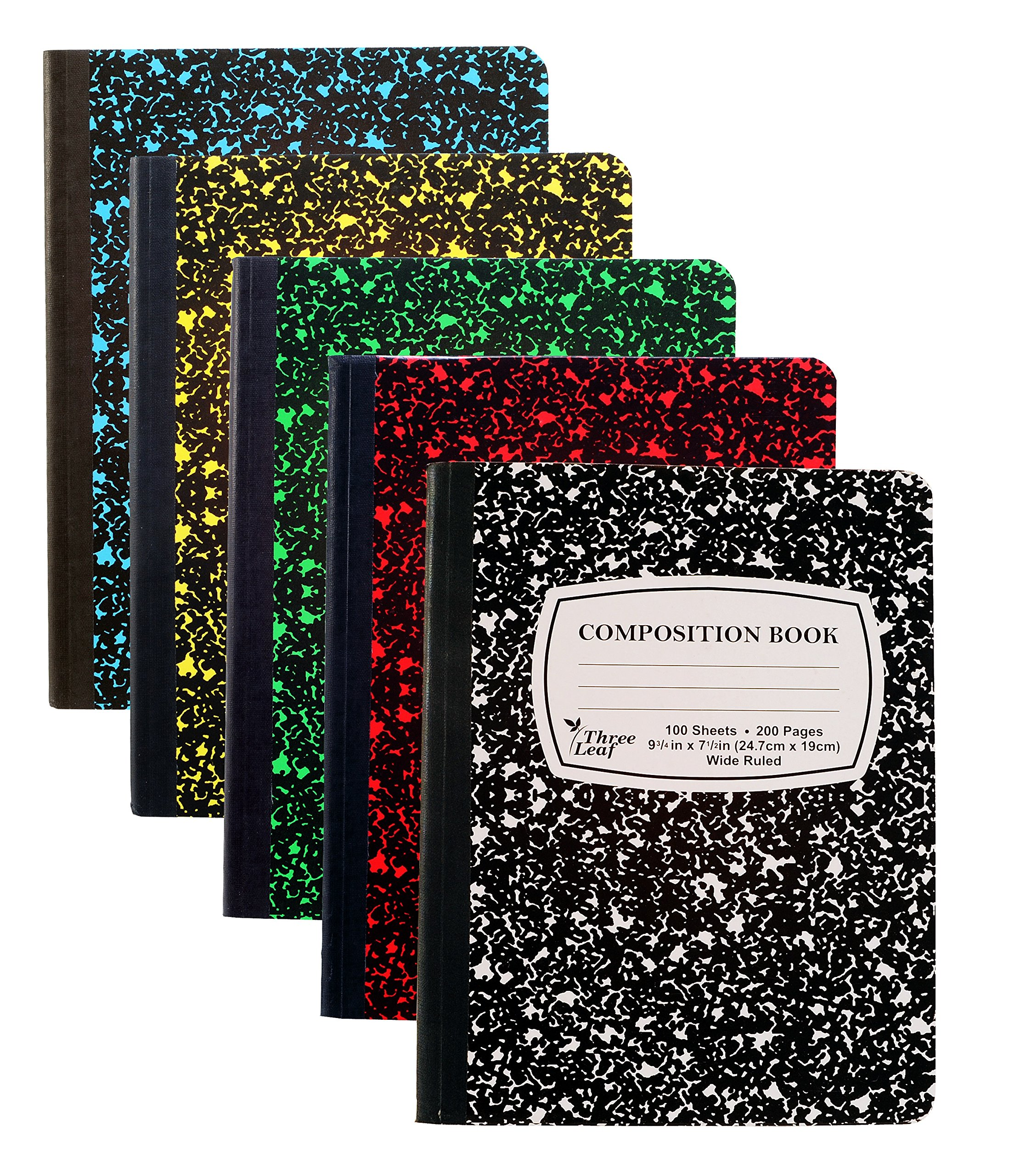 5-Pack Composition Notebook, 9-3/4'' x 7-1/2'', Wide Ruled, 100 Sheet (200 Pages), Weekly Class Schedule and Multiplication/Conversion Tables - Colors: Black, Red, Green, Yellow, Blue. (5-Pack)