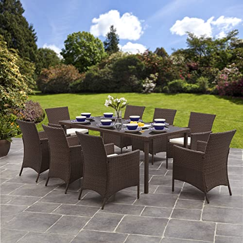 Bella Life Rattan Garden Furniture: Rattan Dining Table And Chairs: Amazon.co.uk