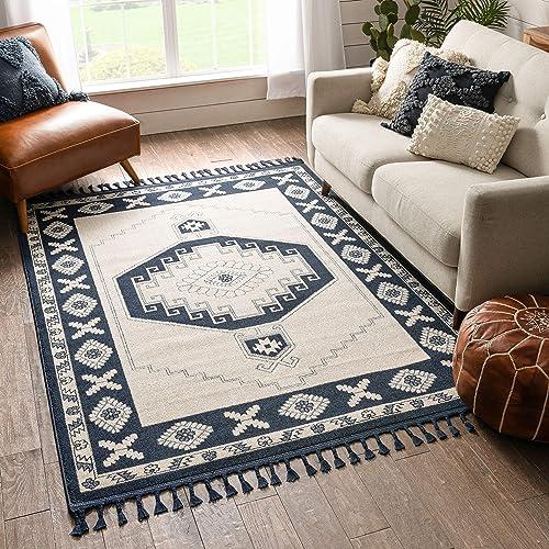 Well Woven Kendre Dark Blue Tribal Medallion Area Rug 8×10 7'10″ x 10'6″ - the best living room rug for the money