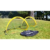 GOALPOP 2.5FT Set of Two Pop Up Goals for Soccer Training - Portable Soccer Goals Net & Carry Bag. Fold-able, Perfect for Young Kids, and Easy to Carry. Weighing Just a Couple of Pounds.