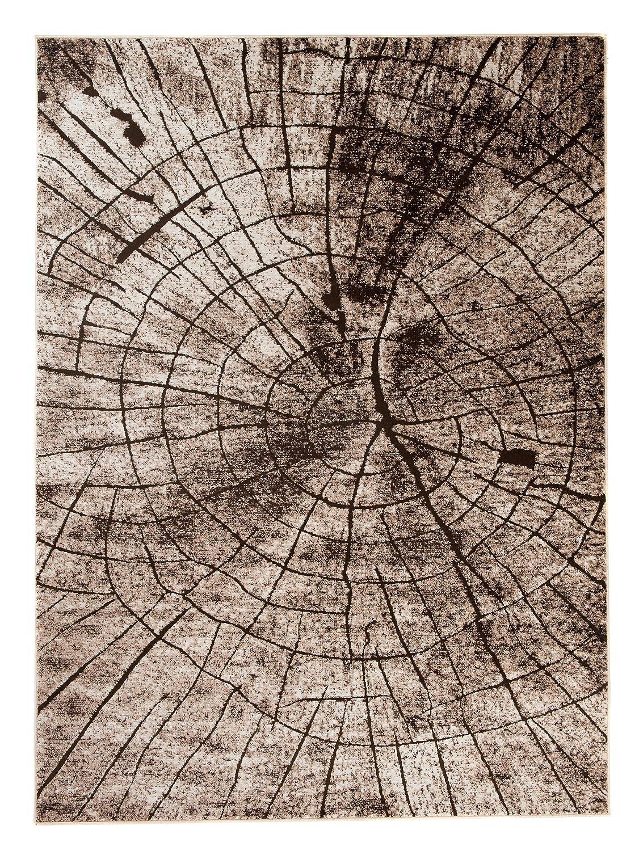 Carpeto Teppich Modern Beige 160 x 220 cm Holzstamm Baum OptikMuster Nantes Kollektion