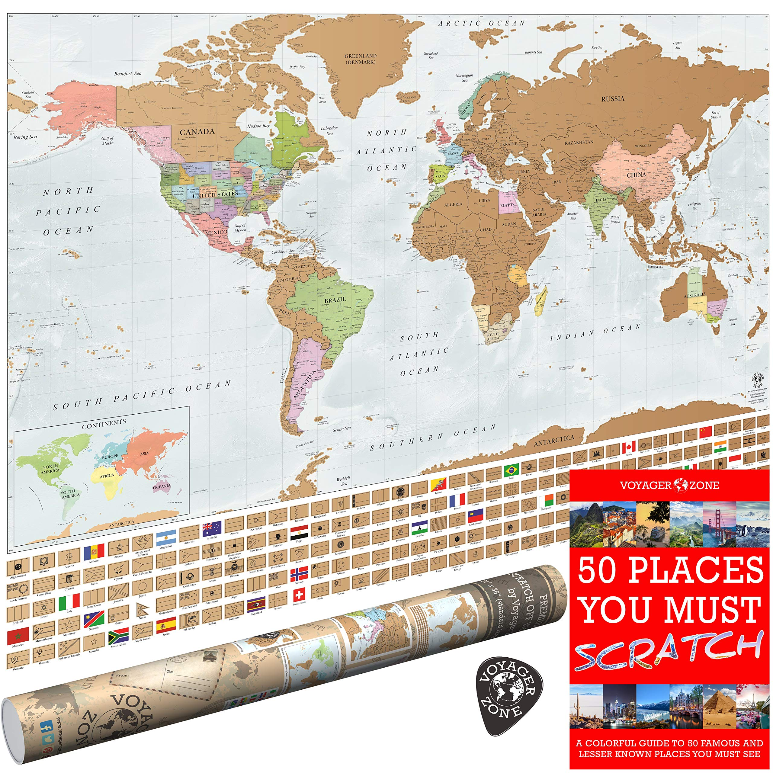 Scratch Off World Map by Voyager Zone - Made in USA - 24x36 Extra Large Size Wall Poster - High Detail Cartography - Premium Spot On Gold Scratch Layer - Scratch-Off Tool and Travel E-Book