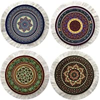 Inusitus Set of 4 Round Coasters - Rug Table Drink Holders - Oriental Design Fabric Elegant Carpets (Set-1)