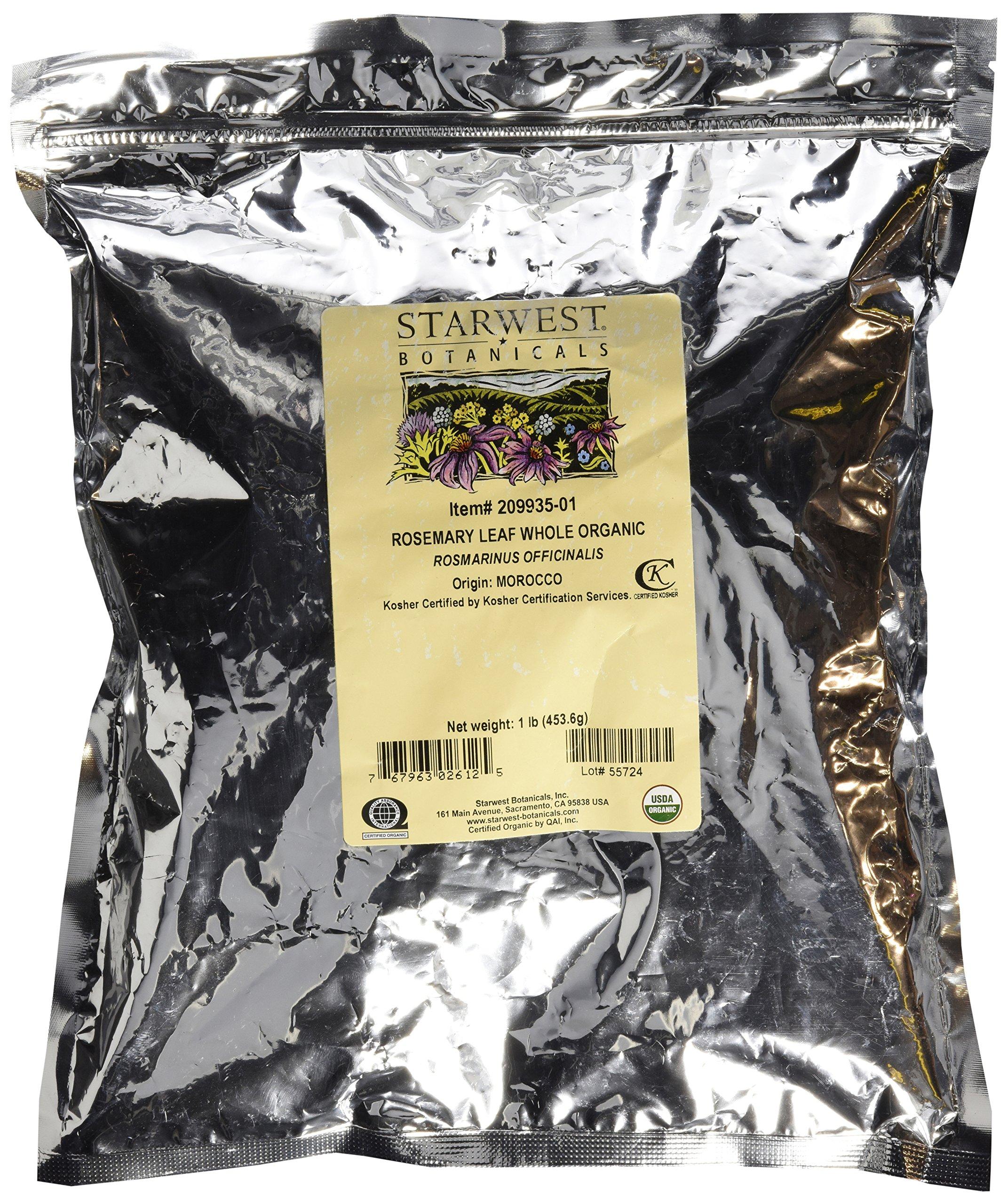 Starwest Botanicals Organic Rosemary Leaf Whole, 16 Oz. Bag (Pack of 6)