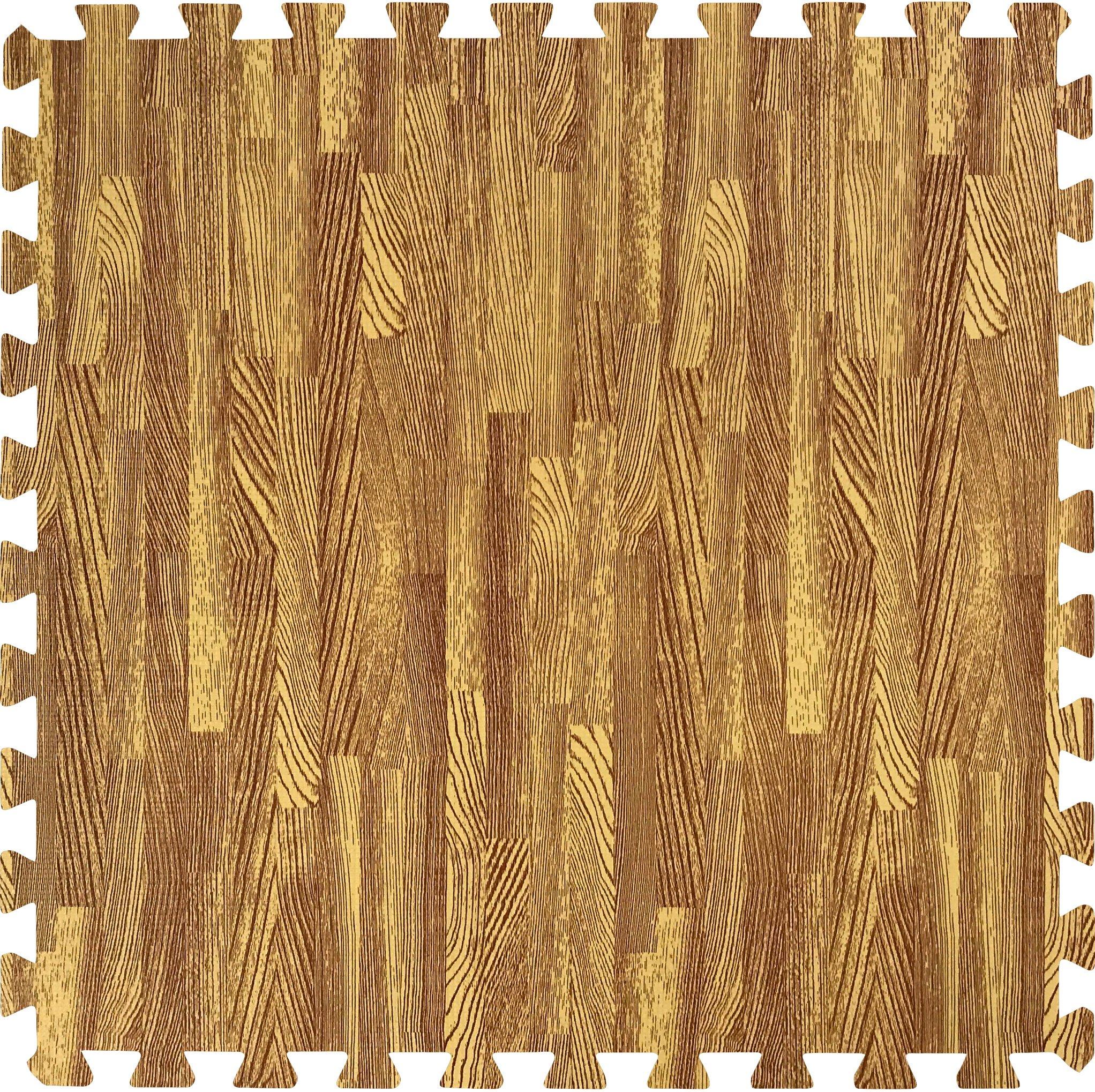 Sorbus Interlocking Floor Mat Print, Wood Grain - Light (6-Piece) by Sorbus (Image #2)