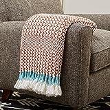 "Amazon Brand – Rivet Modern Hand-Woven Stripe Fringe Throw Blanket, 50"" x 60"", Sienna Orange and White with Teal"