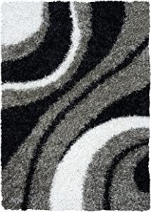 Rizzy Home Kempton Collection Polyester Area Rug, 5' x 7', Multi/Grey/Black/White Stripe