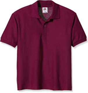 Fruit of the Loom childs 65//35 pique polo shirt Red age 9 to 11