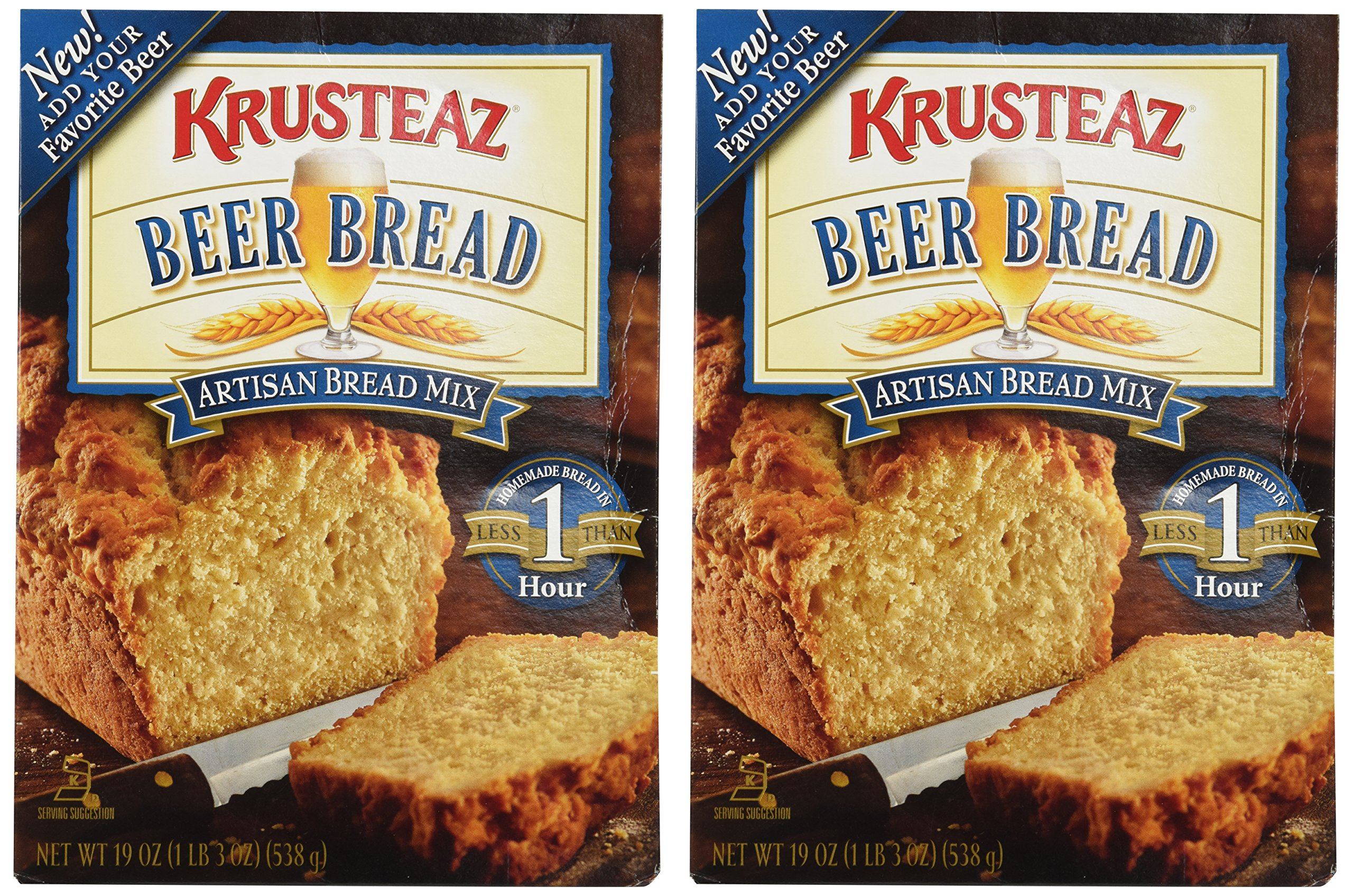 Krusteaz No Knead Artisan Bread Mix: Beer Bread (Pack of 2) 19 oz Boxes