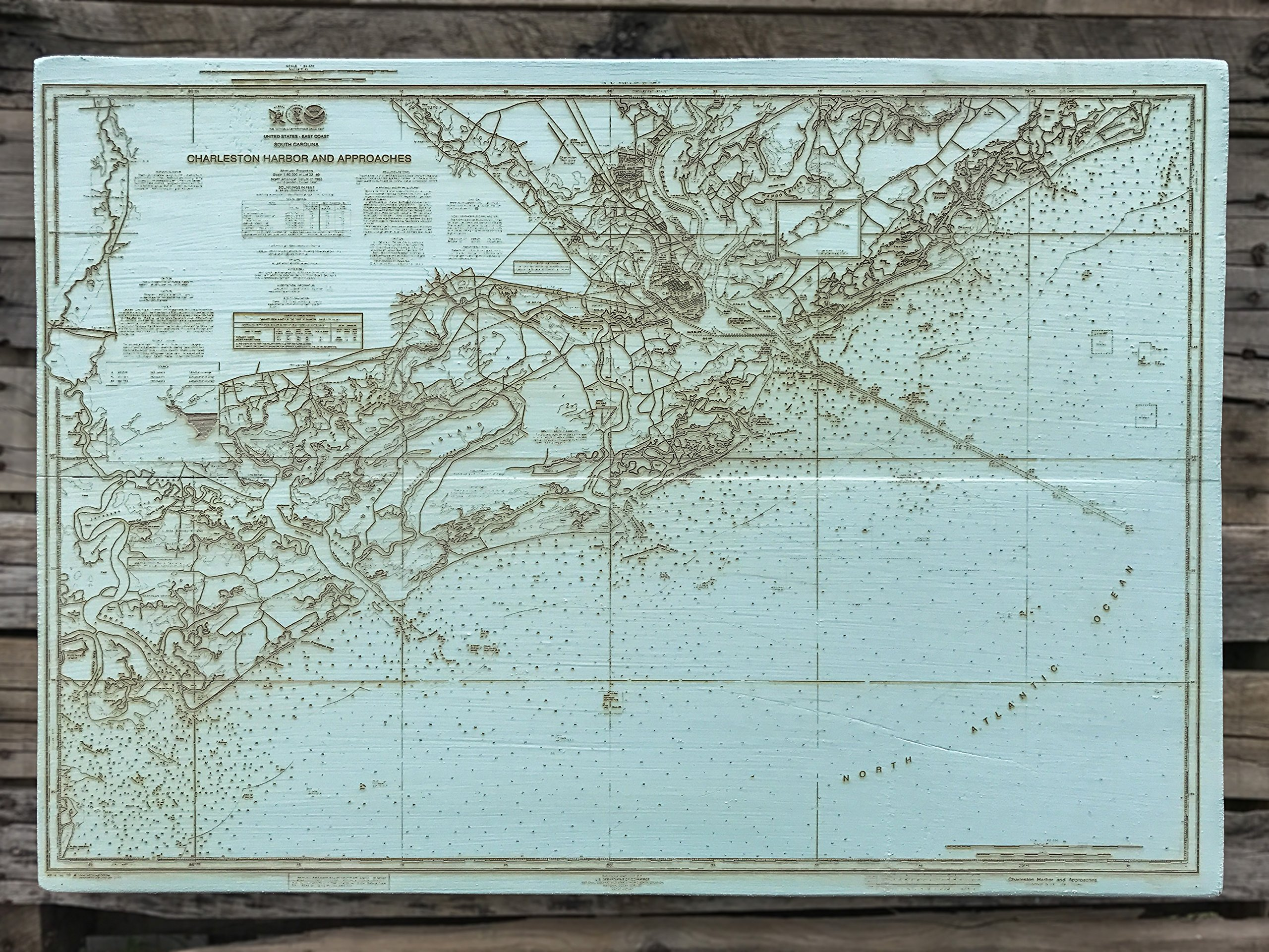 Charleston Harbor and Approaches wood engraved map by Fire & Pine