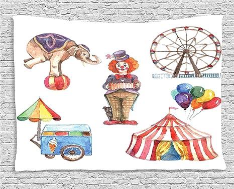 Circo decoración colección, Ambesonne elementos con payaso elefante globos y helado carro acuarela ilustración arte