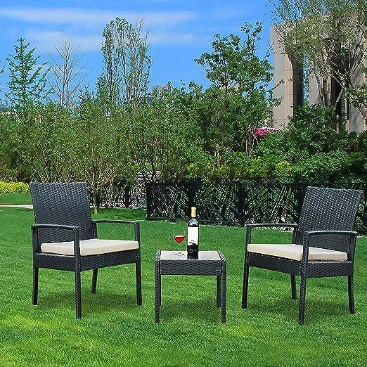 YOUKE Juego de Muebles de jardín de ratán Resistente a la Intemperie para Patio y jardín, Juego de 3 Piezas, sillón y Mesa de café Incluye cojín