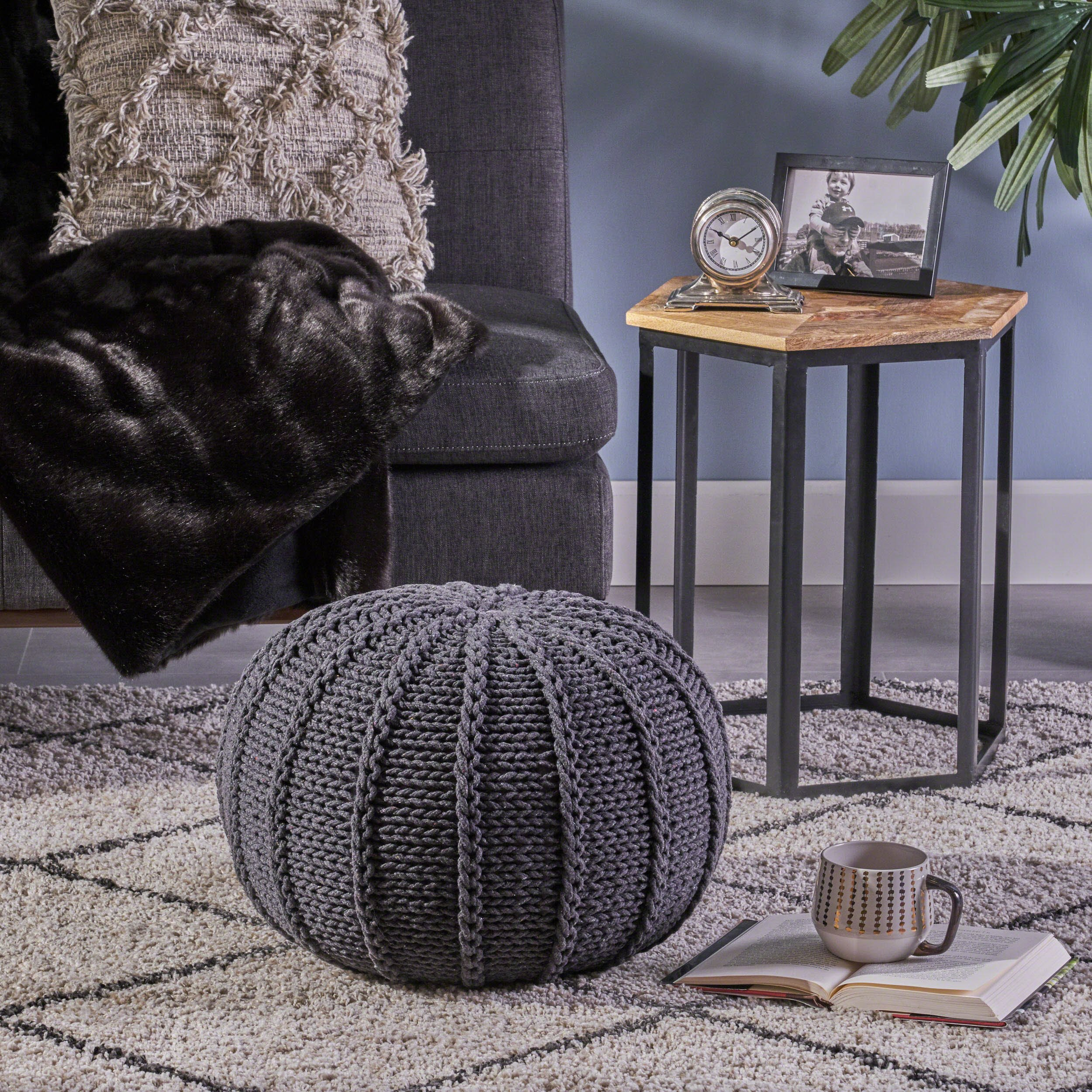 Christopher Knight Home 304441 Agatha Knitted Cotton Pouf, Dark Grey, by Christopher Knight Home