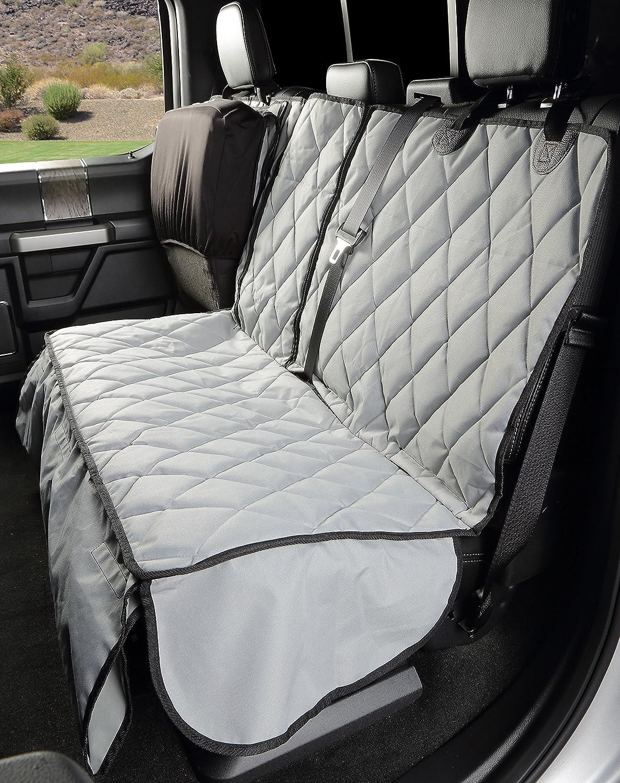 Grey 4Knines Crew Cab Rear Bench Seat Cover with Hammock Heavy Duty Waterproof (Grey)