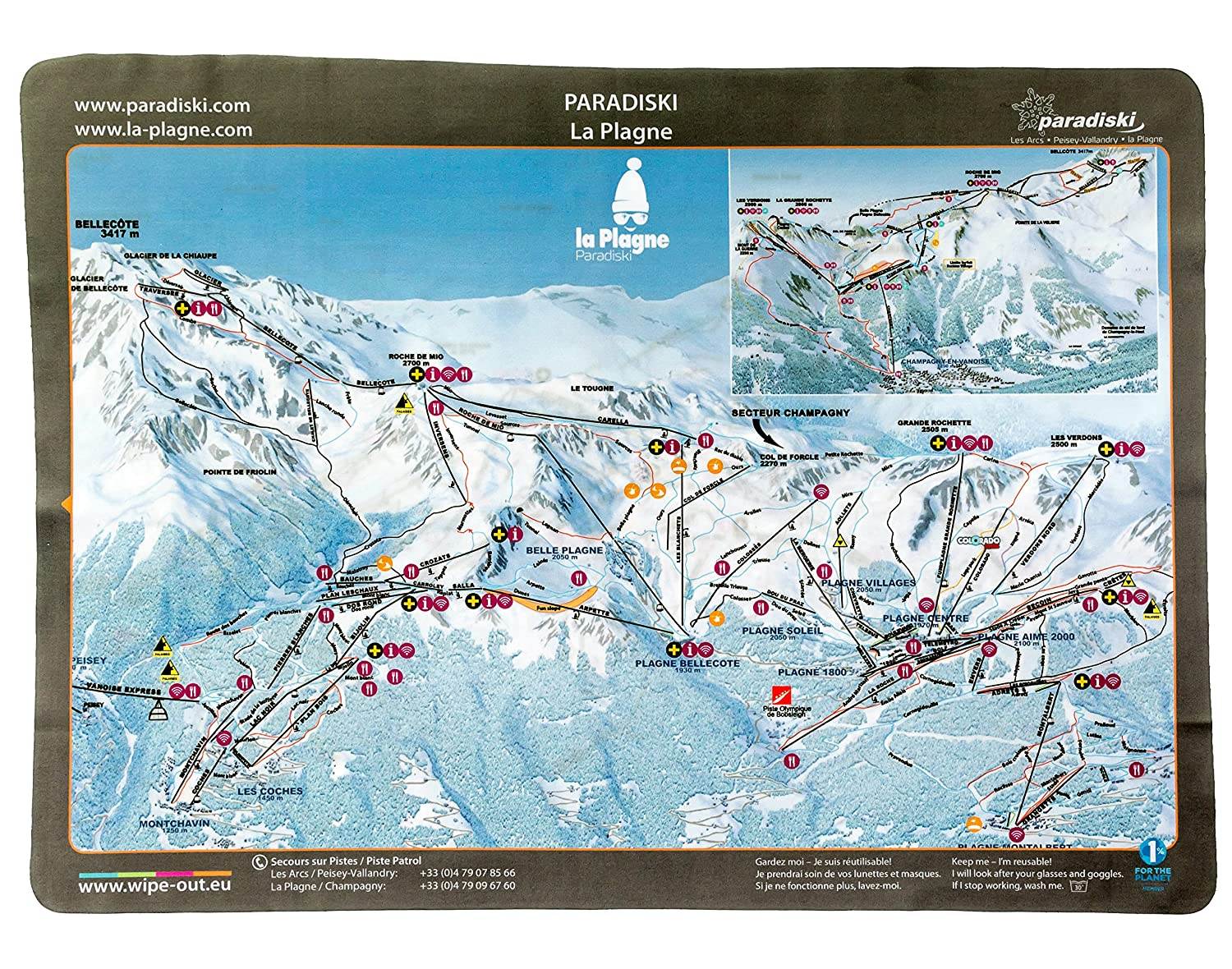 Wipeout Paradiski Piste Map Lens Cloth Amazoncouk Sports Outdoors