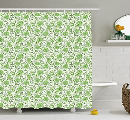 Ambesonne Green And White Shower Curtain Butterflies With Flourishing Hydrangea Flowers Growth Graphic Arsty