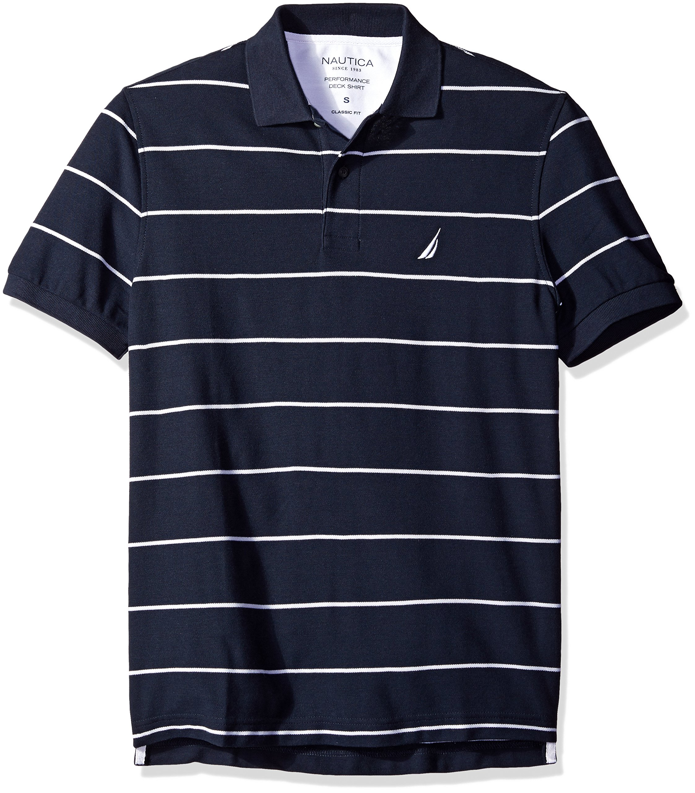 Nautica Men's Stripe Deck Anchor Polo, Navy, XX-Large by Nautica