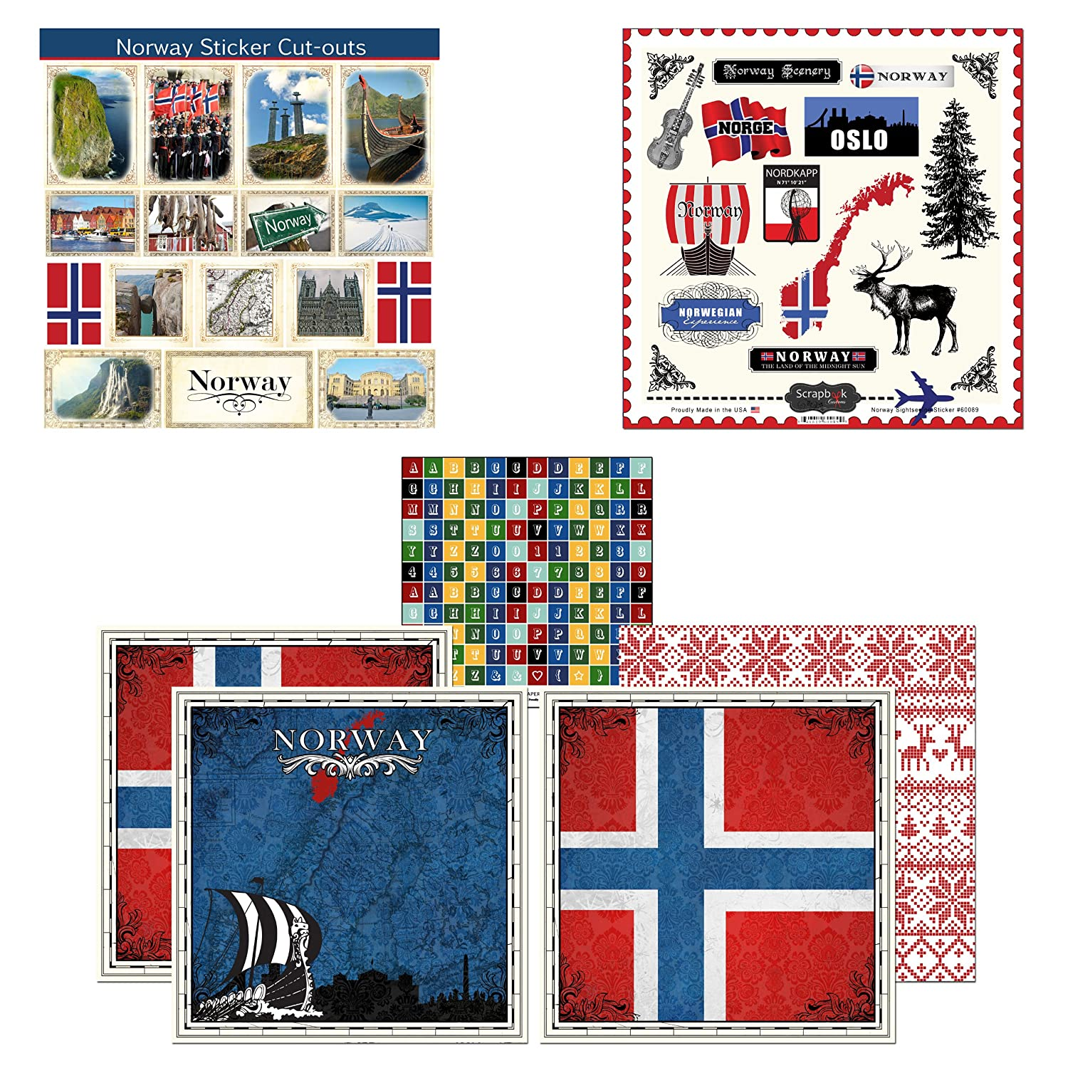 Amazon com scrapbook customs themed paper and stickers scrapbook kit norway sightseeing
