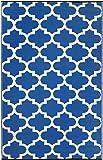 Fab Habitat Tangier-Regatta Blue and White (4-Feetx6-Feet) Rug