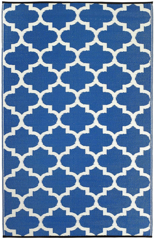 Fab Hab - Tangier - Regattablau & Weiß - Teppich  Matte für den Innen- und Außenbereich (180 cm x 270 cm)