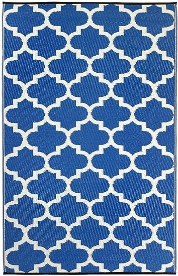 Marvelous Fab Habitat Tangier Recycled Plastic Rug, Regatta Blue U0026 White, ...